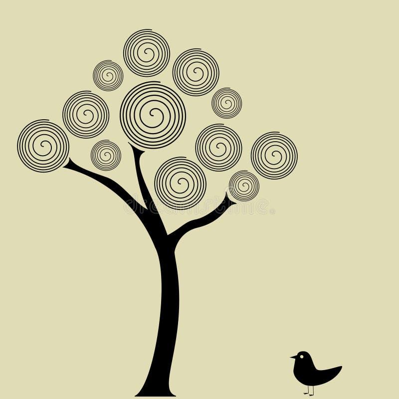 Pájaro bajo el árbol stock de ilustración