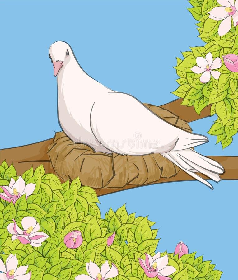 Pájaro blanco en la jerarquía libre illustration