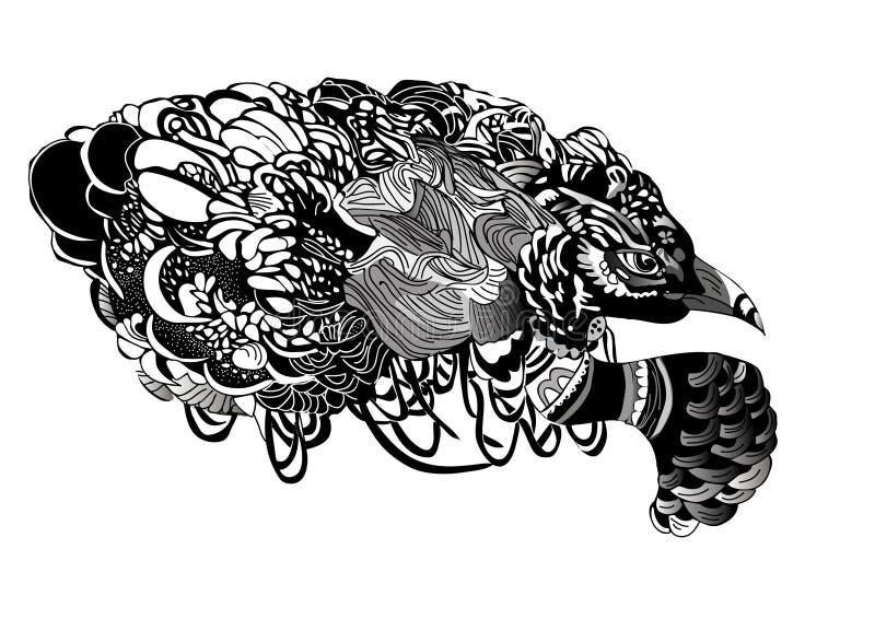 Pájaro blanco y negro del vector imagen de archivo libre de regalías