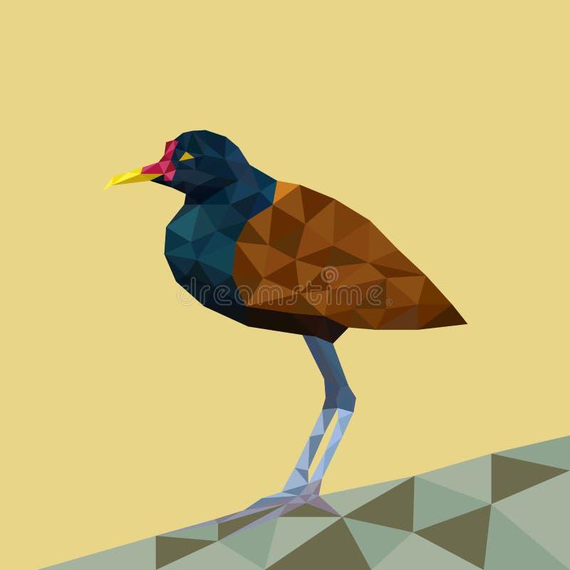 Pájaro brillante del polígono de Brown ilustración del vector