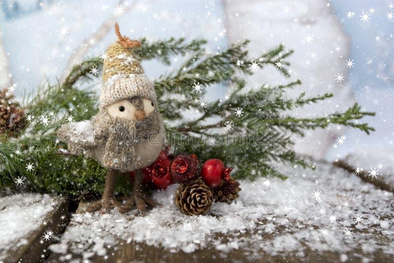 Pájaro caprichoso de la Navidad en la madera imágenes de archivo libres de regalías