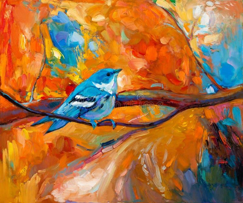 Pájaro cerúleo azul de la curruca ilustración del vector