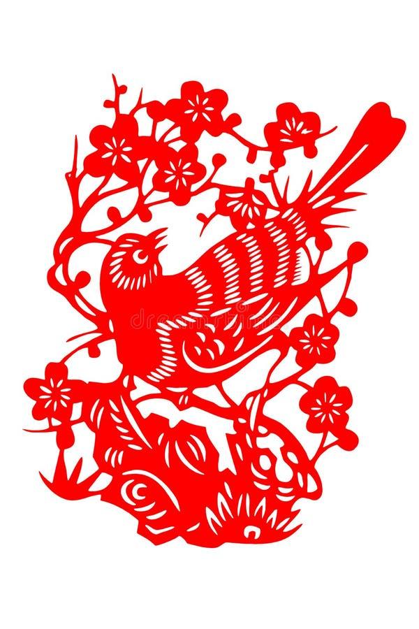 Pájaro chino del papel-corte stock de ilustración