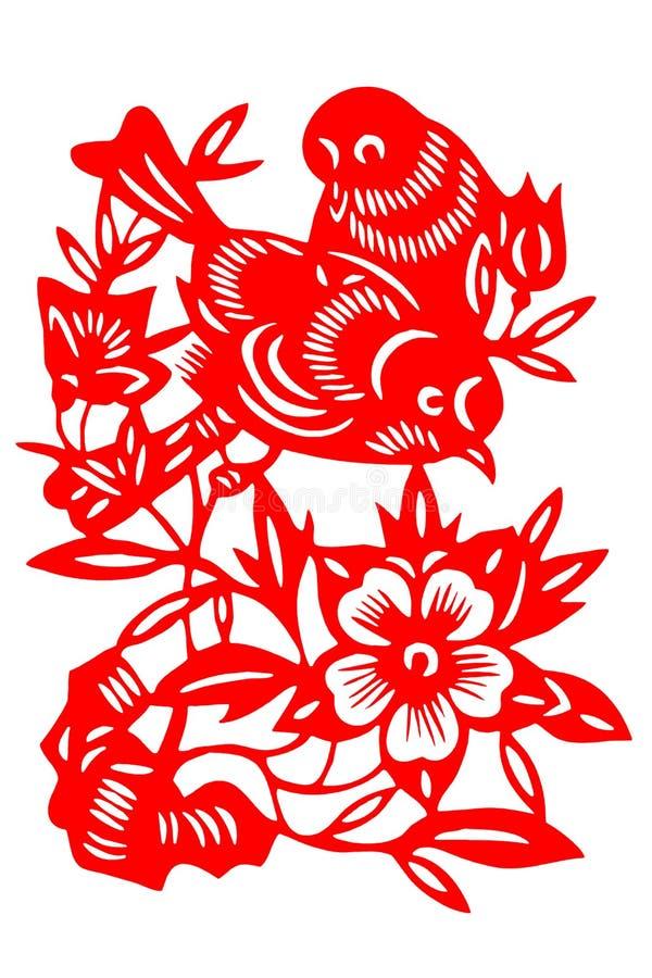 Pájaro chino del papel-corte fotografía de archivo libre de regalías