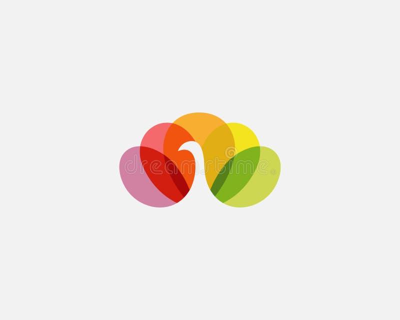 Pájaro colorido del pavo real en logotipo negativo del vector de espacio Logotipo hermoso del icono de la cola del peafowl stock de ilustración