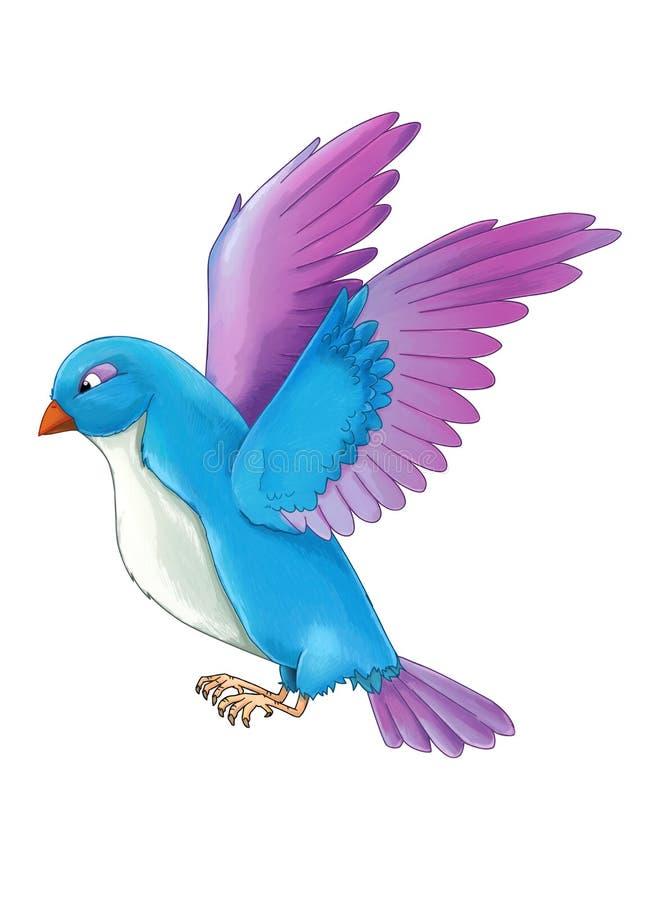 Pájaro colorido exótico de la historieta - volando en el fondo blanco ilustración del vector