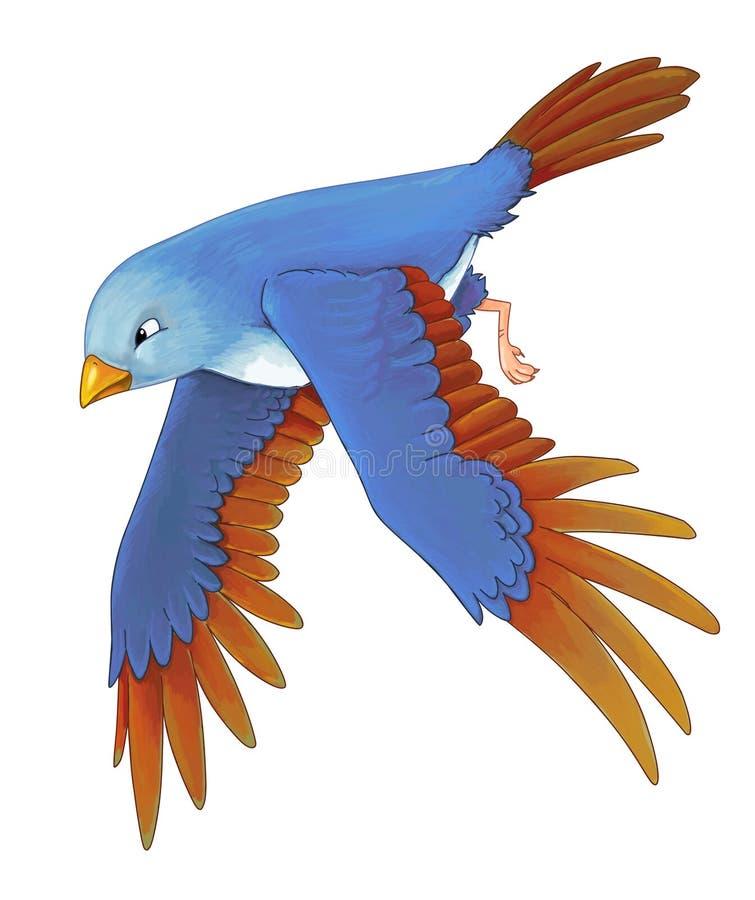Pájaro colorido exótico de la historieta - vuelo - ilustración del vector