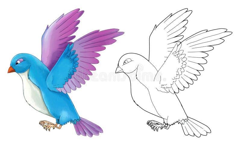 Pájaro colorido exótico de la historieta - vuelo - aislado - con la página del colorante ilustración del vector