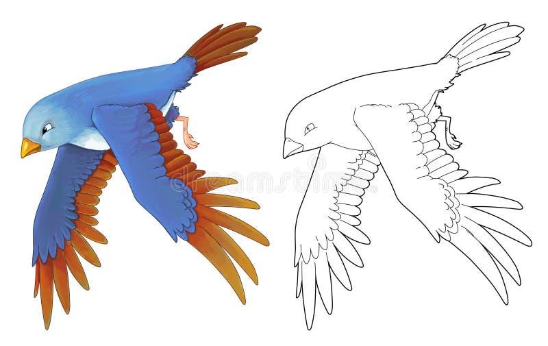 Pájaro colorido exótico de la historieta - vuelo - aislado - con la página del colorante libre illustration