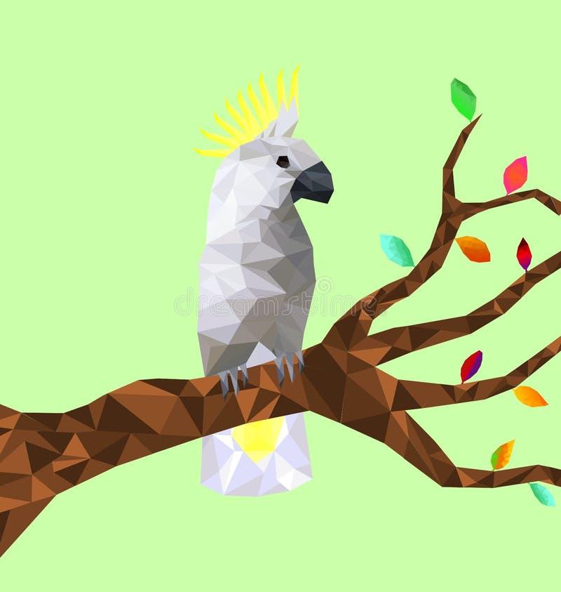 Pájaro colorido polivinílico bajo de la cacatúa con el árbol en la tierra trasera, pájaros en las ramas, concepto geométrico anim stock de ilustración