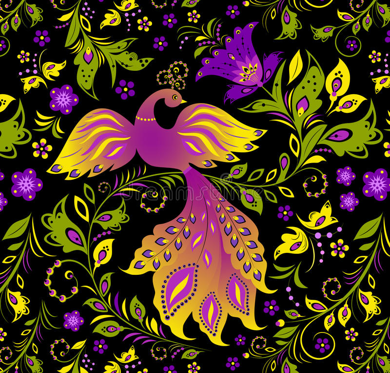Pájaro colorido y planta abstracta stock de ilustración