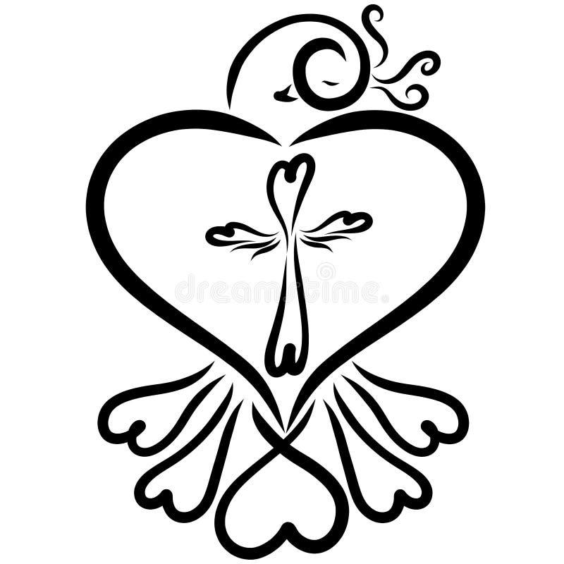 Pájaro con corazones y una cruz de corazones, vida espiritual stock de ilustración