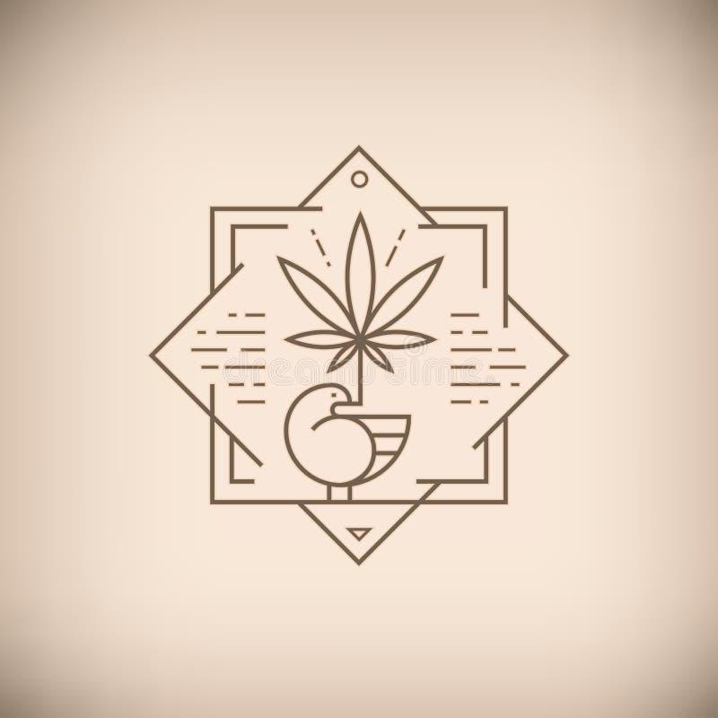 Pájaro con el emblema del marrón de la hoja de la marijuana ilustración del vector