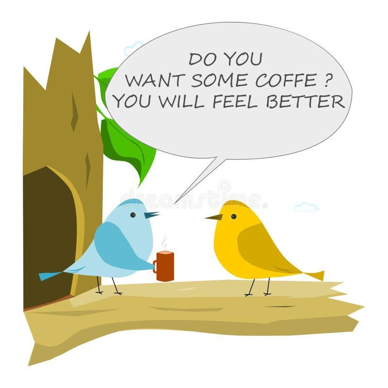 Pájaro con la taza de café stock de ilustración