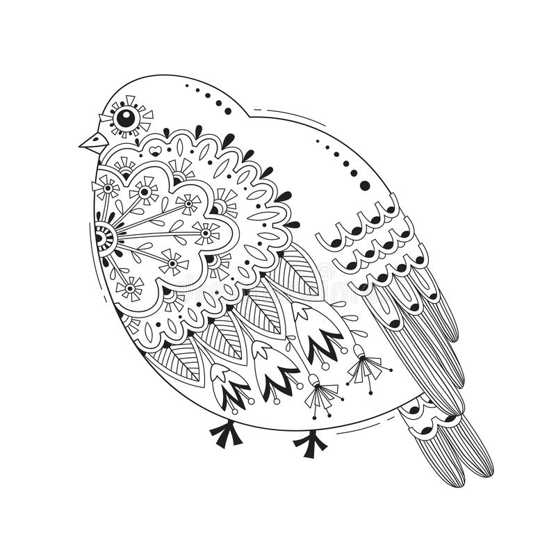 Pájaro con los modelos y las flores Tatuaje, elemento del diseño de la pintura del cuerpo Ilustración del vector ilustración del vector