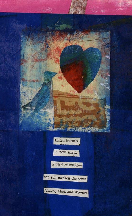 Pájaro, corazón, y poema del amor de Dada stock de ilustración