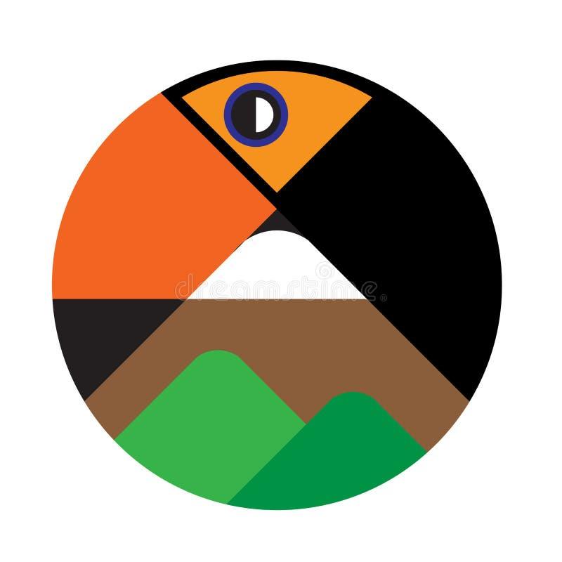 Pájaro curvado estilizado del tucán con el logotipo de las montañas imagenes de archivo