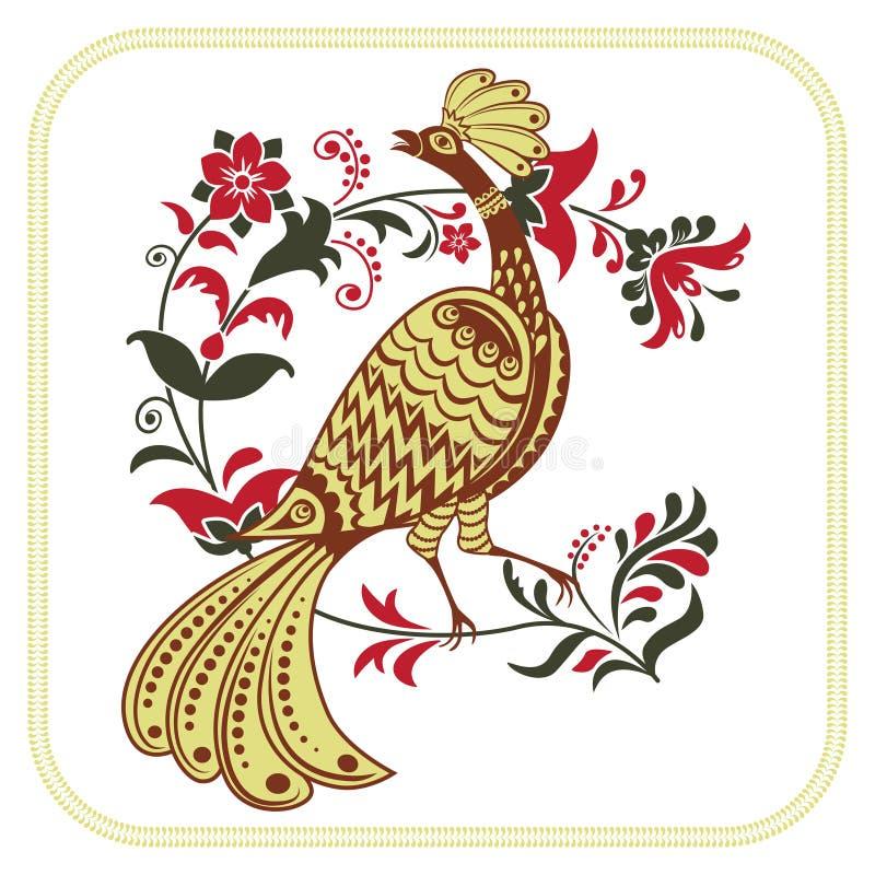 Pájaro de hadas y rama floral caprichosa stock de ilustración