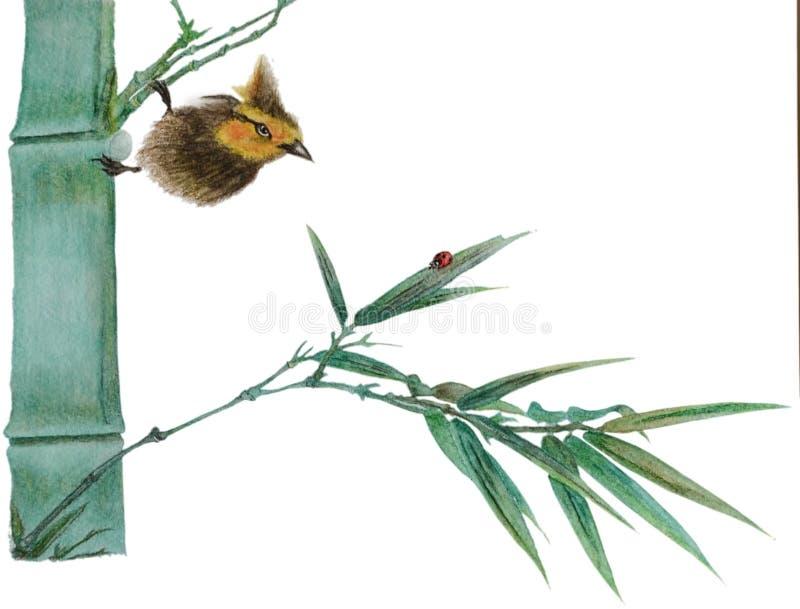 Pájaro de la acuarela en bambú ilustración del vector