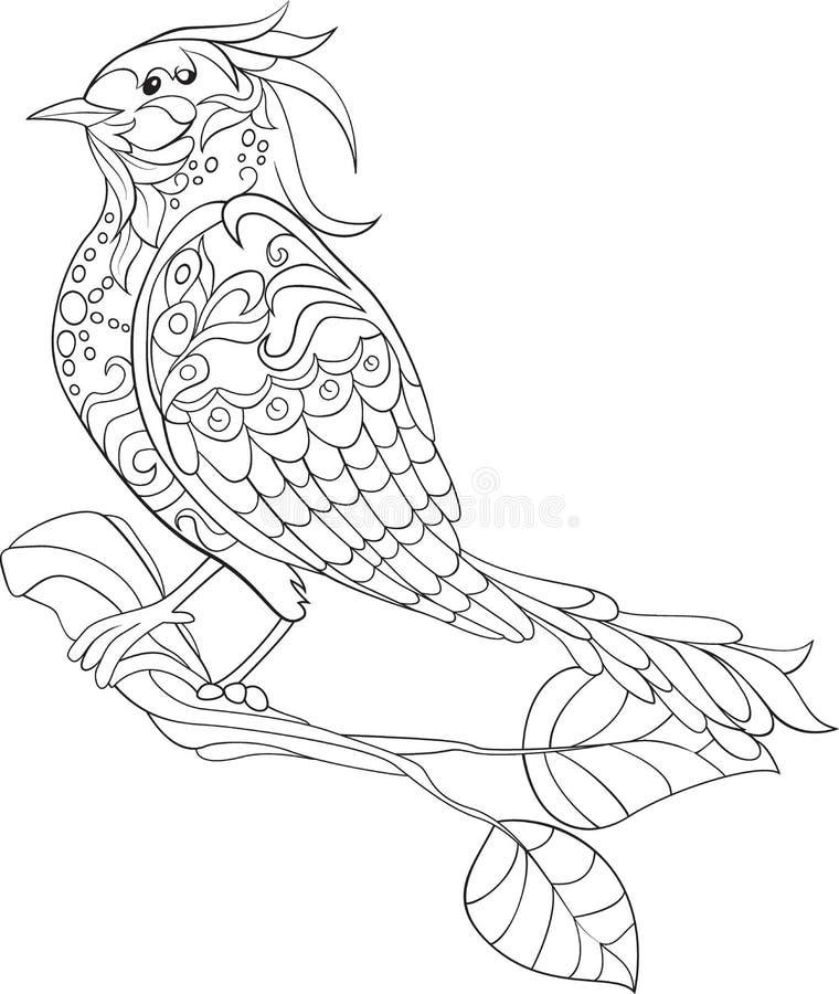 Pájaro de la fantasía Doodle dibujado mano Bosquejo para la página antiesfuerza adulta del colorante stock de ilustración
