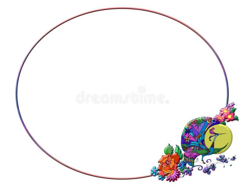 Pájaro de la fantasía y marco de las flores libre illustration