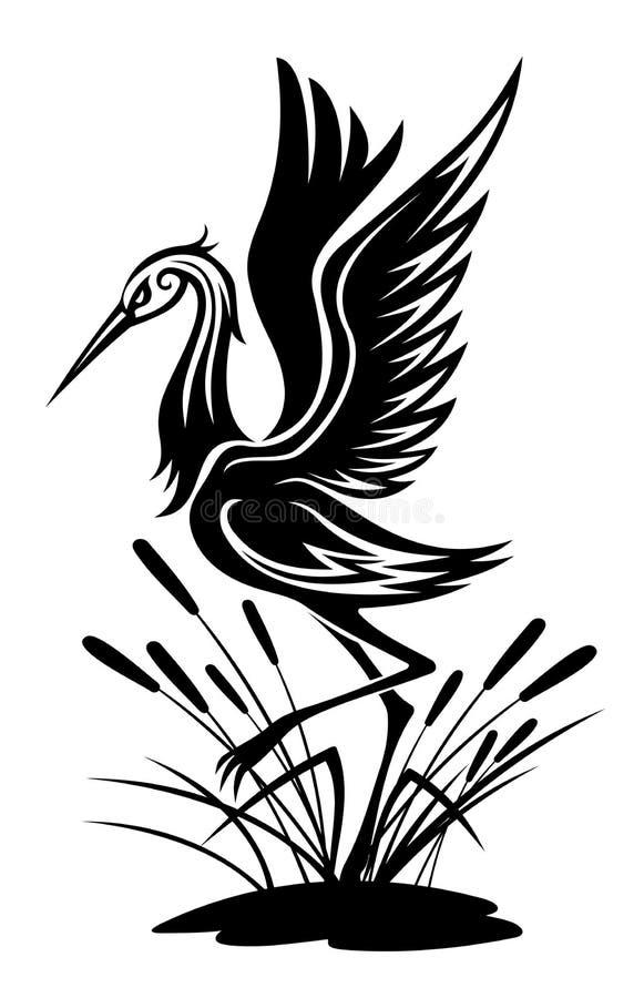 Pájaro de la garza stock de ilustración