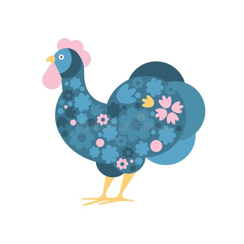 Pájaro de la granja del gallo coloreado en el estilo moderno de Artictic llenado del ejemplo colorido azul y rosado de FloralPatt stock de ilustración