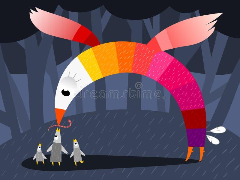 Pájaro de la madre que introduce a sus bebés stock de ilustración