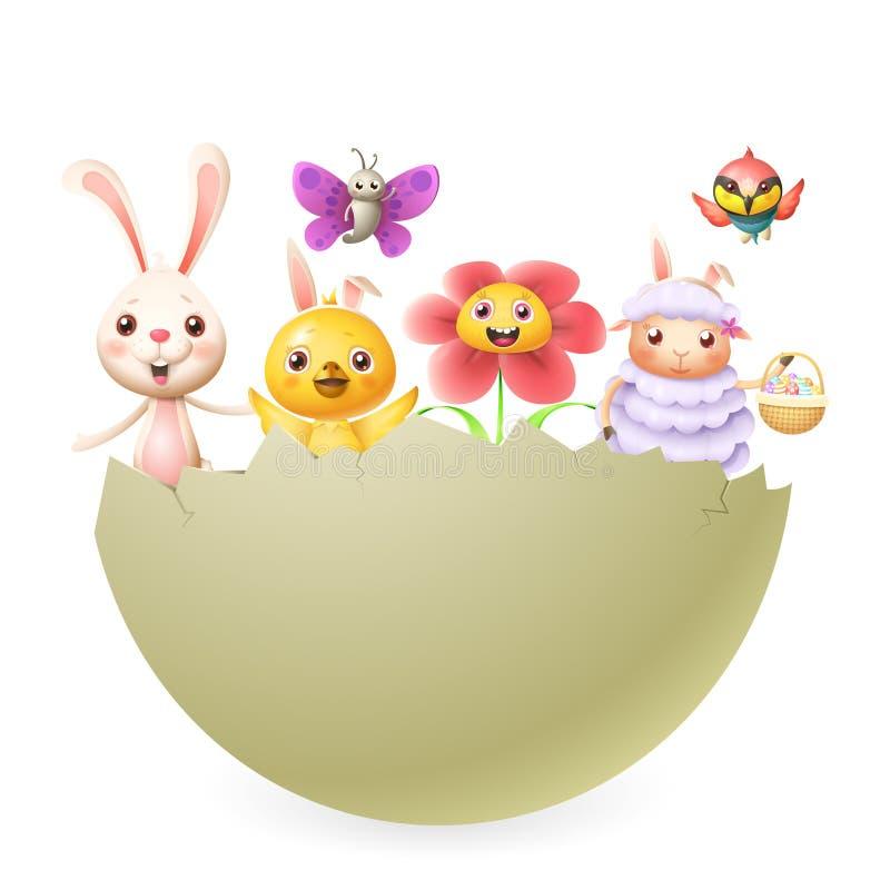 Pájaro de la mariposa del cordero de la flor del pollo del conejito de los caracteres de Pascua en huevo tramado grande stock de ilustración