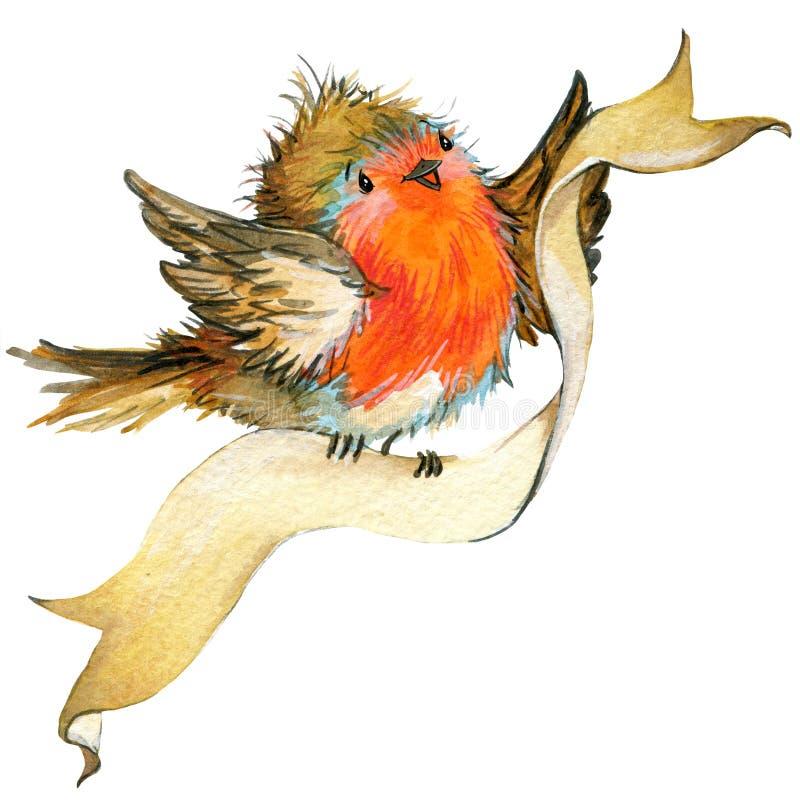 Pájaro de la Navidad y fondo de la Navidad Ilustración de la acuarela libre illustration