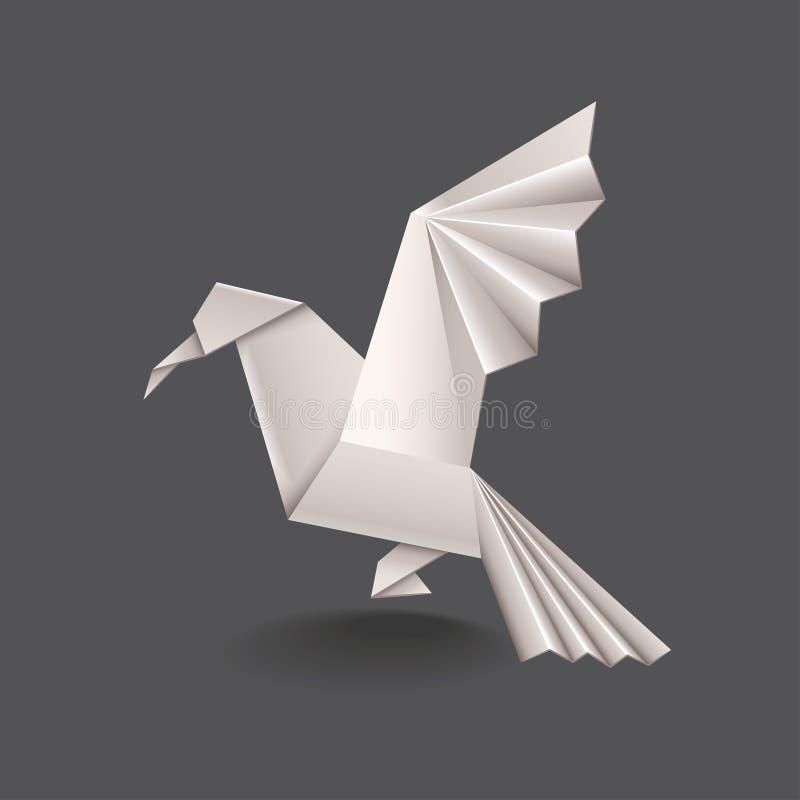 Pájaro de la papiroflexia aislado en vector oscuro stock de ilustración