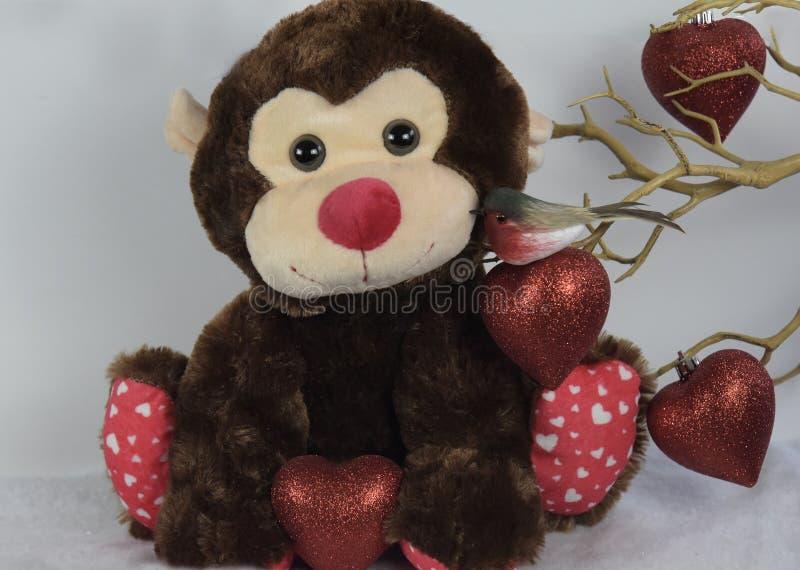 Pájaro de la tarjeta de la tarjeta del día de San Valentín que besa un mono foto de archivo
