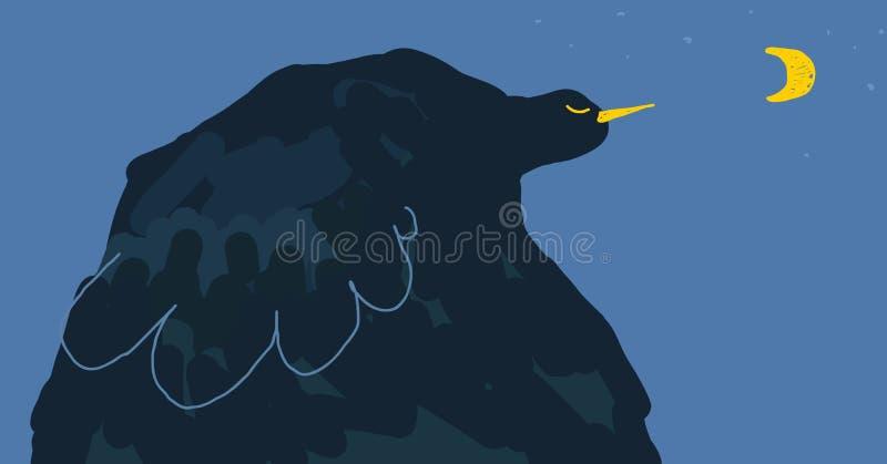 Pájaro de noche azul del cuento de hadas místico, ejemplo ideal de la historia stock de ilustración