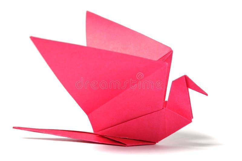 Pájaro de Origami sobre blanco imagenes de archivo