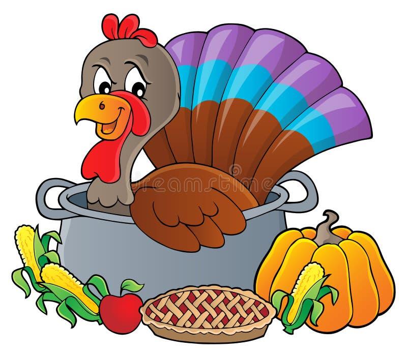 Pájaro de Turquía en la imagen 3 del tema de la cacerola stock de ilustración