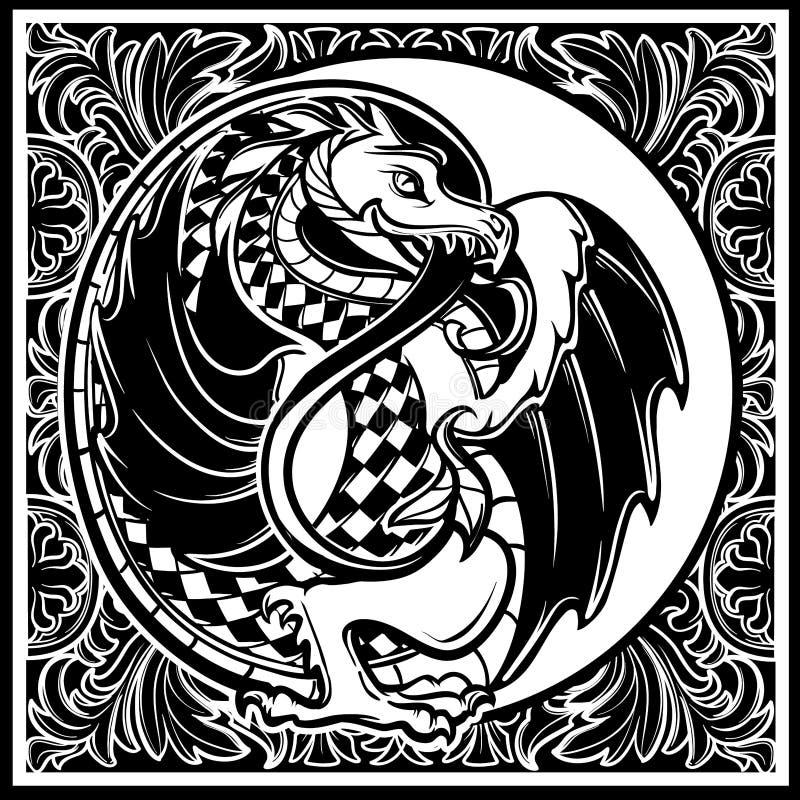 Pájaro decorativo Arte gótico medieval del concepto del estilo ilustración del vector