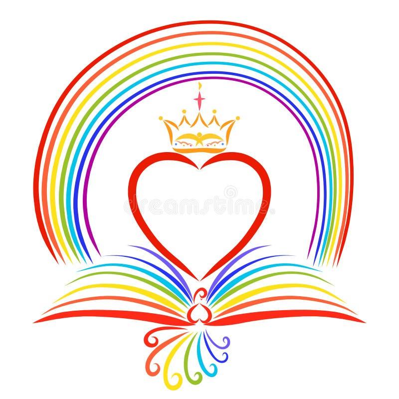 Pájaro del arco iris y arco iris, libro, corazón y corona ilustración del vector