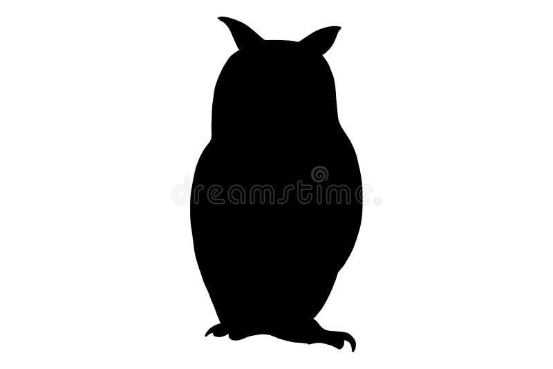 Pájaro del búho, ejemplo de la silueta del color del negro del vector para el icono, logotipo, cartel, bandera Animal salvaje abs stock de ilustración