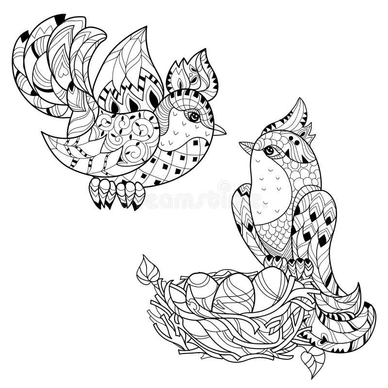 Pájaro del bosquejo de Zentangle en garabato dibujado mano de la jerarquía stock de ilustración