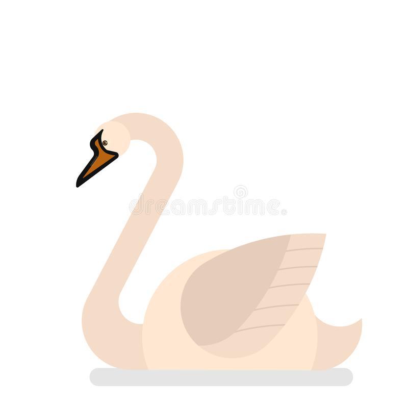 Pájaro del cisne con la pluma blanca Criatura elegante ilustración del vector