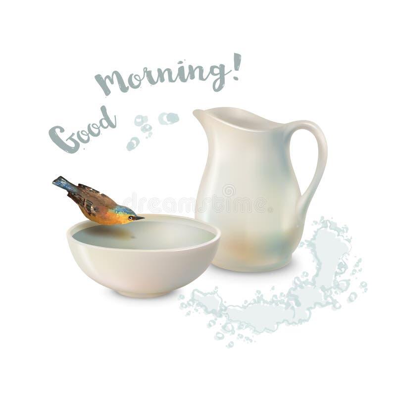 Pájaro del cuenco de la jarra ilustración del vector