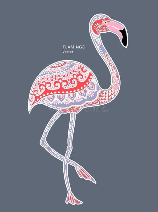 Pájaro del flamenco con los ornamentos étnicos stock de ilustración