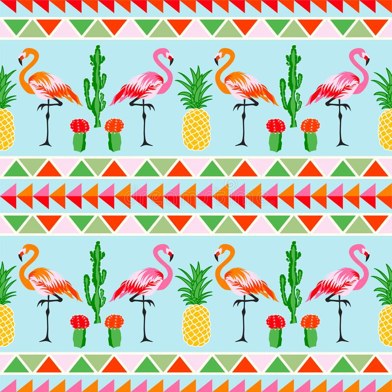 Pájaro del flamenco con vagos tropicales del cactus y de la piña stock de ilustración