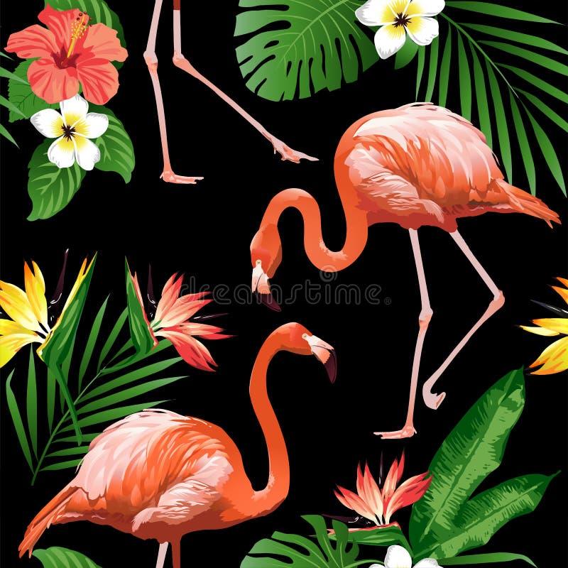 Pájaro del flamenco y fondo tropical de las flores ilustración del vector