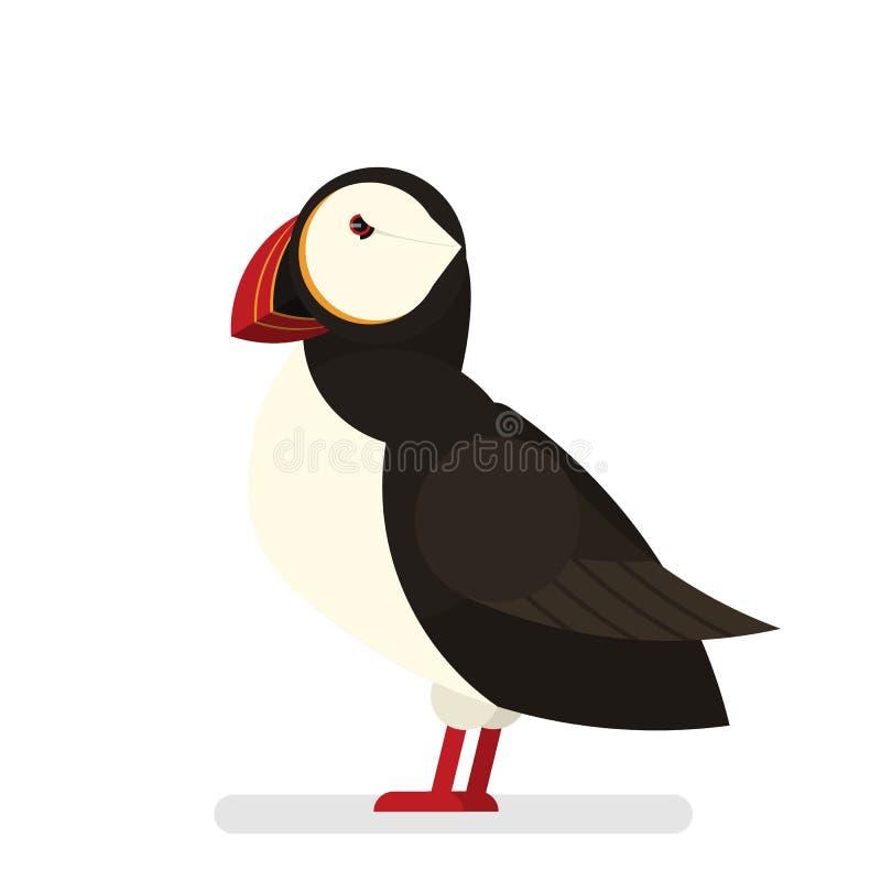 Pájaro del frailecillo Animal con la piel blanco y negro libre illustration