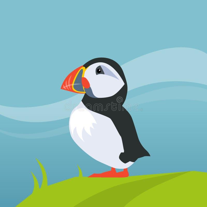 Pájaro del frailecillo en Islandia stock de ilustración