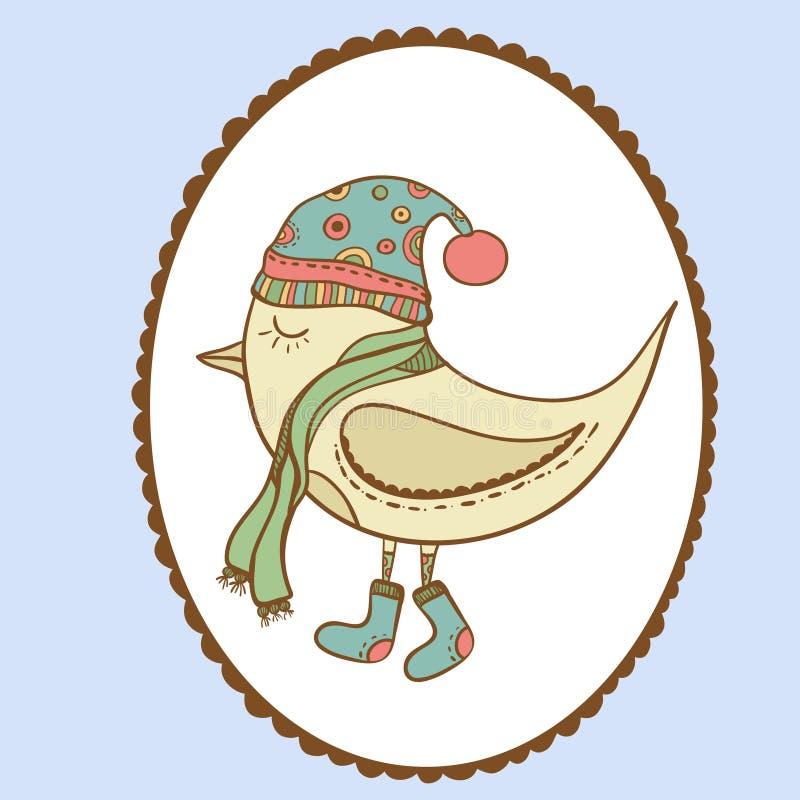 Pájaro del invierno en marco a cielo abierto Pájaro en ropa stock de ilustración