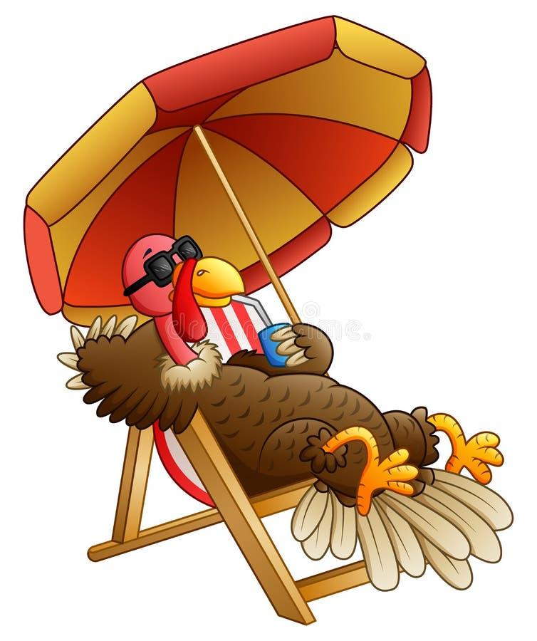 Pájaro del pavo de la historieta que se sienta en silla de playa ilustración del vector