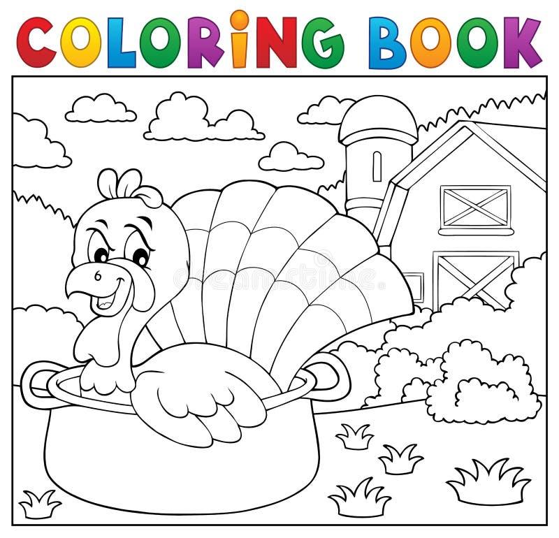 Pájaro del pavo del libro de colorear en el tema 2 de la cacerola libre illustration