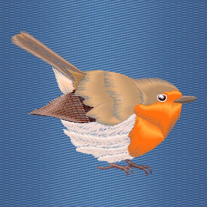 Pájaro del petirrojo del bordado en fondo azul del dril de algodón Diseño moderno de los ejemplos del vector ilustración del vector